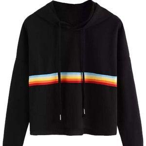 Black hoodie with rainbow stripe